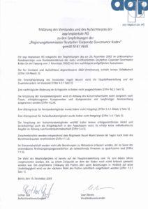 Entsprechenserklärung 2002