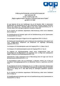 Entsprechenserklärung 2003