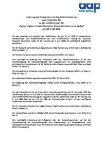 Entsprechenserklärung 2005