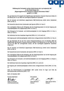 Entsprechenserklärung 2007