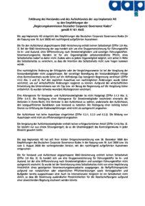 Entsprechenserklärung 2009