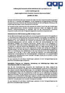Entsprechenserklärung 2011