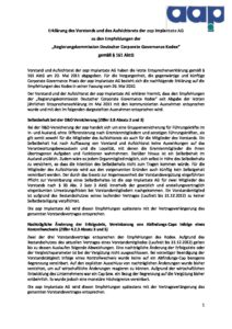 Entsprechenserklärung 2012