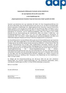 Entsprechenserklärung 2014 - Ergänzung