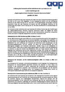 Entsprechenserklärung 2014