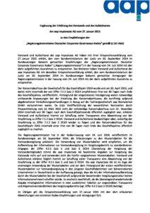 Entsprechenserklärung 2015 - Ergänzung