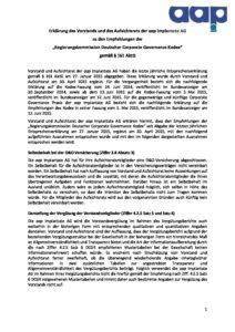 Entsprechenserklärung 2016