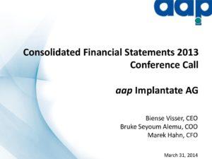 Telefonkonferenz zum Jahresabschluss 2013 vom 31.3.2014