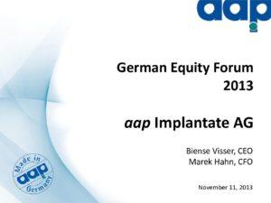 Eigenkapitalforum 2013 in Frankfurt vom 11.11.2013