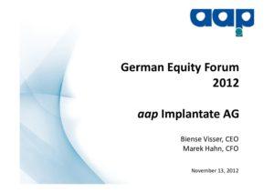 German Equity Forum 2012 in Frankfurt on November 13, 2012