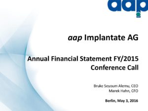 Annual financial statements 2015 conference call on May 03, 2016