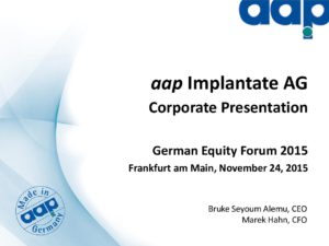 German Equity Forum 2015 in Frankfurt am Main on November 24, 2015
