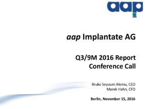 Third quarter 2016 conference call on November 15, 2016