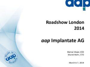 Roadshow London 2014, März