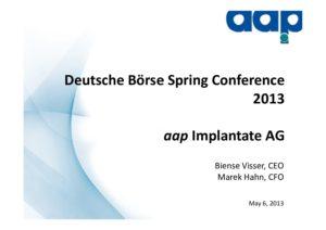 Deutsche Börse Frühjahrskonferenz in Frankfurt am Main vom 6.5.2013