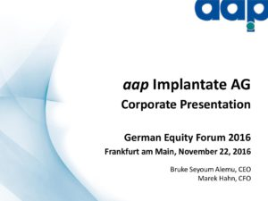 German Equity Forum 2016 in Frankfurt am Main on November 22, 2016