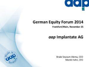 German Equity Forum 2014 in Frankfurt on November 25, 2014 (long version)