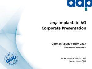 German Equity Forum 2014 in Frankfurt on November 25, 2014 (short version)