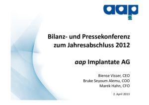 Telefonkonferenz zum Jahresabschluss 2012 vom 02.04.2013