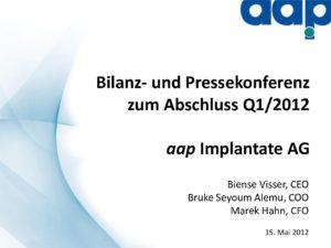 Telefonkonferenz für das erste Quartal 2012 vom 15.05.2012