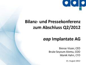 Telefonkonferenz für das zweite Quartal 2012 vom 15.08.2012