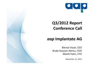 Third quarter 2012 conference call on November 12, 2012