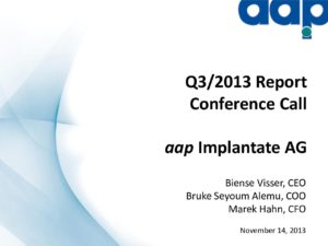 Third quarter 2013 conference call on November 14, 2013