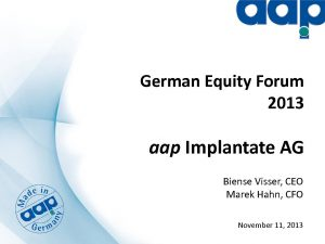 German Equity Forum 2013 in Frankfurt on November 11, 2013