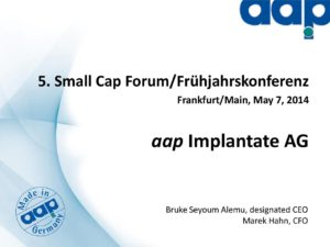 5. Frühjahrskonferenz in Frankfurt am Main on May 7, 2014 (long version)
