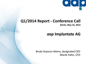 First quarter 2014 conference call on May 15, 2014