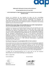 Entsprechenserklärung 2017 – Ergänzung