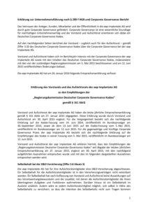 Erklärung zur Unternehmensführung 2015