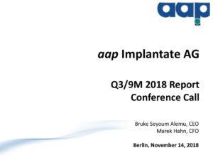 Third quarter 2018 conference call on November 14, 2018