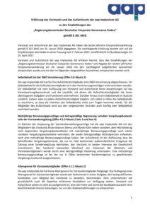 Entsprechenserklärung 2019