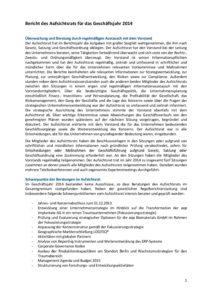 Bericht des Aufsichtsrats für das Geschäftsjahr 2014