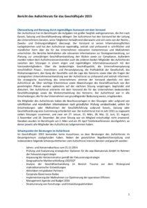 Bericht des Aufsichtsrats für das Geschäftsjahr 2015