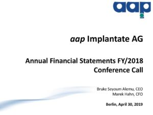 Annual financial statements 2018 conference call on April 30, 2019