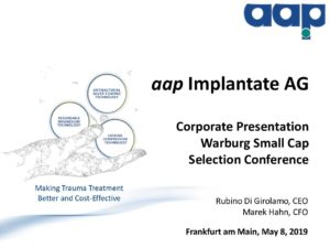 Warburg Small Cap Selection Conference in Frankfurt am Main on May 8, 2019