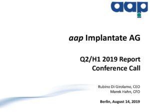Telefonkonferenz für das zweite Quartal 2019 vom 14.08.2019