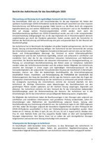 Bericht des Aufsichtsrats für das Geschäftsjahr 2020