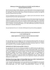 Erklärung zur Unternehmensführung 2020